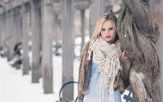 Blonde girl, scarf, winter, snow Wallpaper Preview