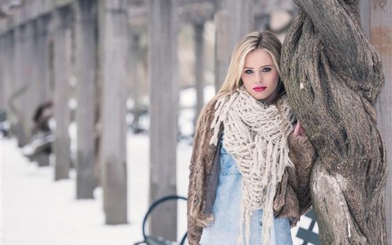 Wallpaper Blonde girl, scarf, winter, snow