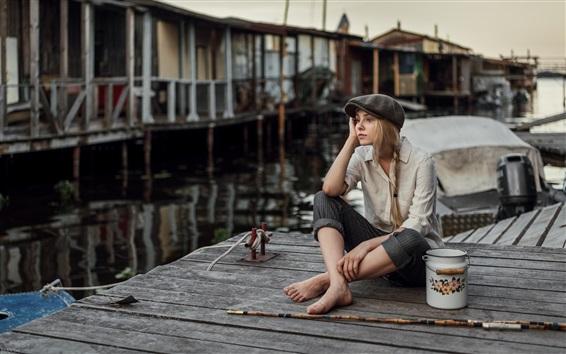 Fond d'écran Fille blonde, assis, pêche, jetée
