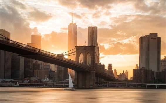 Wallpaper Brooklyn, bridge, river, city, skyscrapers, sunset, USA