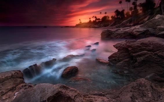 Обои Калифорния, красивый закат, море, берег, пальмы