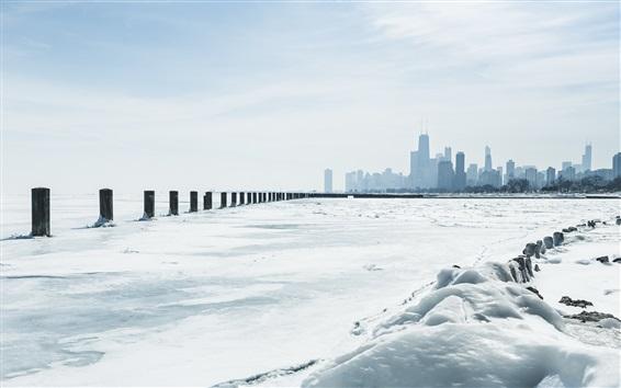 Papéis de Parede Chicago, Michigan, Inverno, neve, arranha-céus, EUA