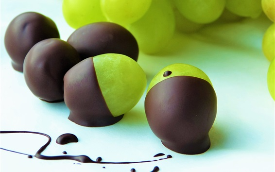 Wallpaper Chocolate covered green grapes, dessert, fruit
