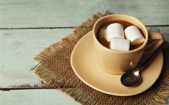 Fond d'écran Boissons au chocolat, tasse, guimauves