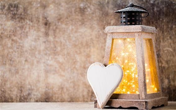 Fond d'écran Noël, lanterne, hiver, neige, coeur d'amour