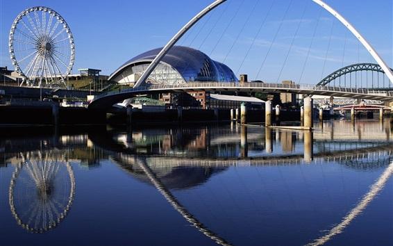Papéis de Parede Cidade, ponte, ferris, roda, edifícios, rio, água, reflexão
