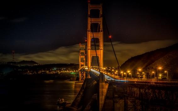 Wallpaper City night, lights, bridge, Golden gate, San Francisco, USA