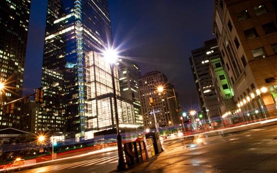 Fondos de pantalla Calle de la ciudad, noche, luces, edificios, Filadelfia, Estados Unidos