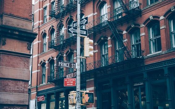 Wallpaper City street, road signs, buildings, New York, USA