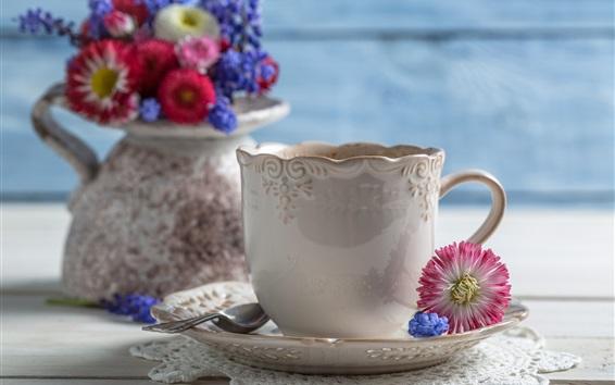 배경 화면 커피, 컵, 꽃병, 꽃, 스푼