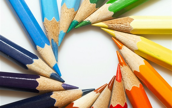 Wallpaper Colorful pencils, circle, white background