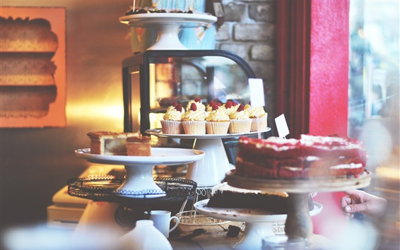 Wallpaper Cupcakes, berries, bakery