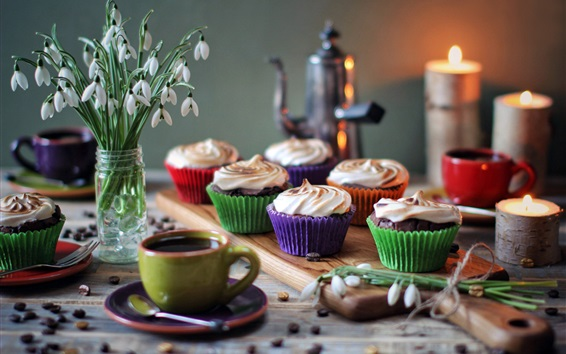 壁紙 カップケーキ、カップコーヒー、デザート、スノードロップ、ろうそく