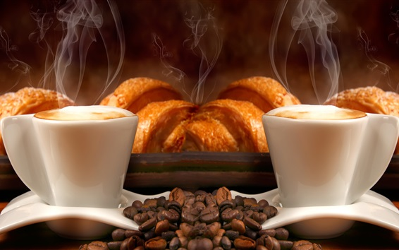 Wallpaper Cups, coffee beans, bread, steam, aroma