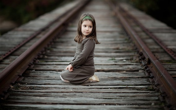 Wallpaper Cute little girl sit at railroad, child, look back
