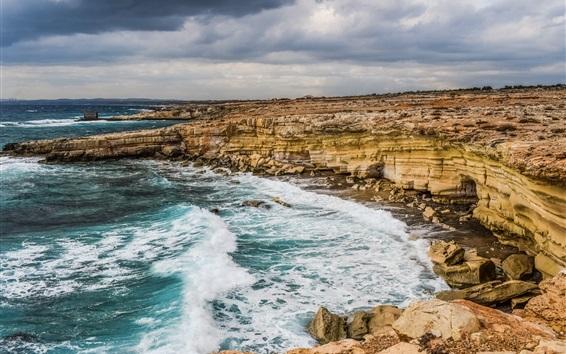 Wallpaper Cyprus, sea, coast, rocks, cliff