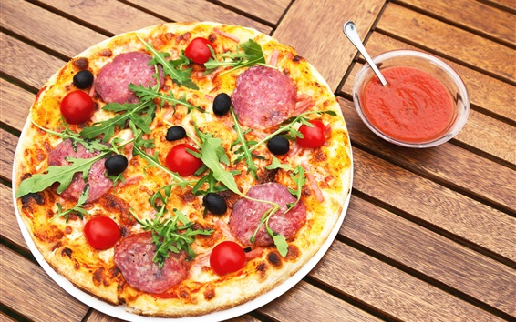Wallpaper Delicious pizza, food