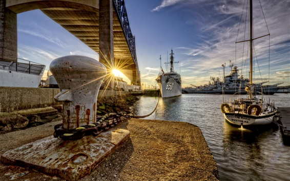 Wallpaper Dock, ships, city, river, bridge