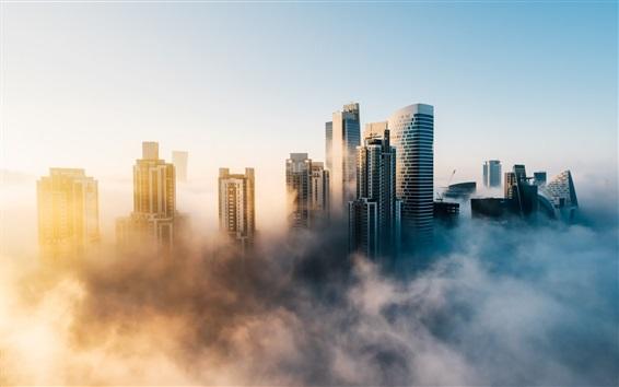 Обои город Дубай в утренние, туман, небоскребы, ОАЭ