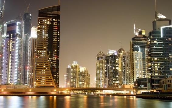 Wallpaper Dubai, city night views, skyscrapers, bridge, lights