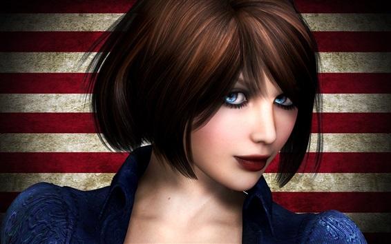 Fondos de pantalla Elizabeth, BioShock Infinite, ojos azules chica, pelo corto