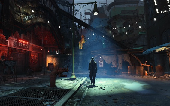 Wallpaper Fallout 4, street, city, night
