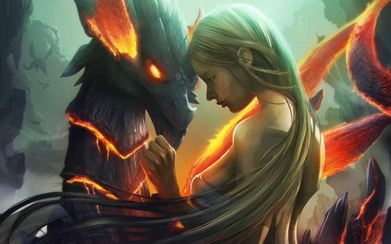 壁紙 ファンタジーガールとドラゴン、アート写真