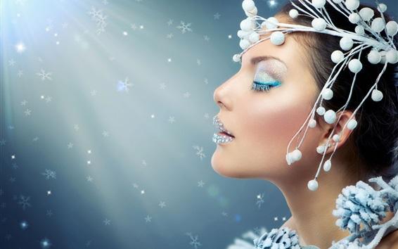 Fond d'écran Fashion girl, maquillage, fermer les yeux, la décoration, la lumière