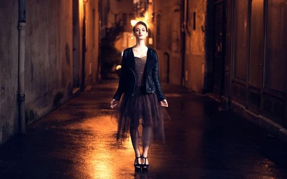 배경 화면 패션 소녀, 밤 도시, 거리