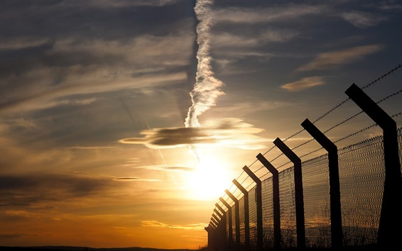 Wallpaper Fence, sunset, sky