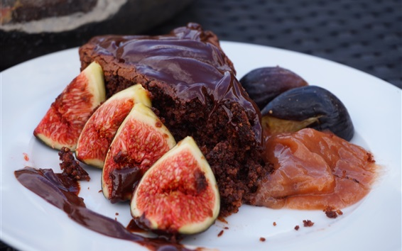 Wallpaper Figs and chocolate cake