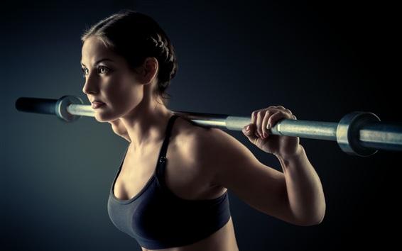 Wallpaper Fitness girl, black sportswear, training, weight lifting