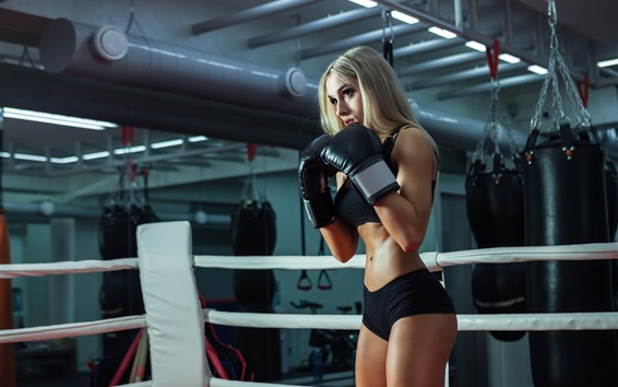 Wallpaper Fitness girl, blonde, boxing training