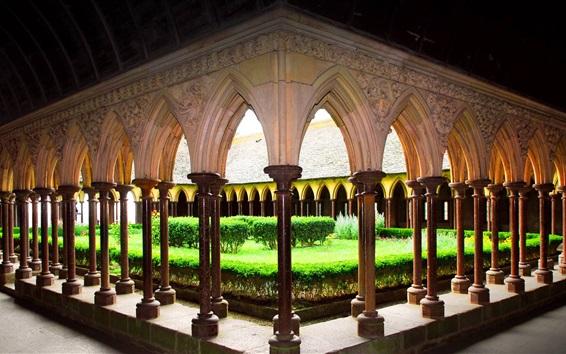 Papéis de Parede França, Mont-Saint-Michel, Normandia, mosteiro, jarda