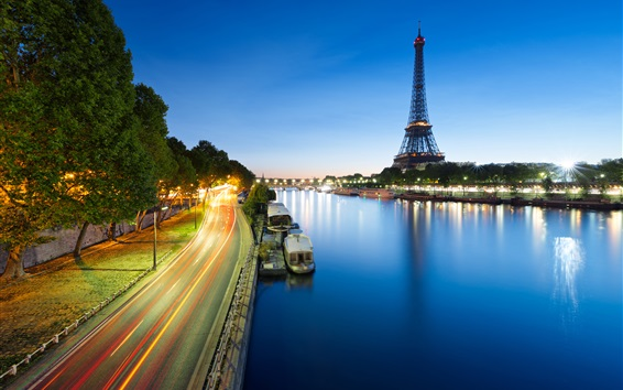 Wallpaper France, Paris, Eiffel Tower, road, river, boat, lights, night