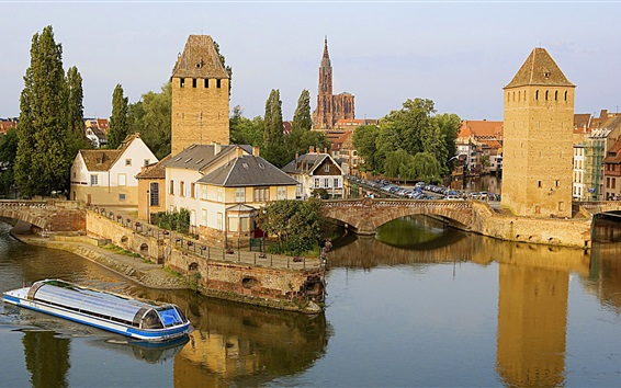 Wallpaper France, Strasbourg, bridge, river, houses