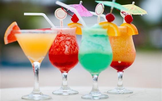 배경 화면 과일 음료, 칵테일, 차가운 유리 컵
