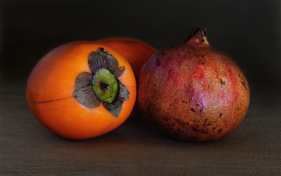 Wallpaper Fruit macro photography, persimmon, pomegranate