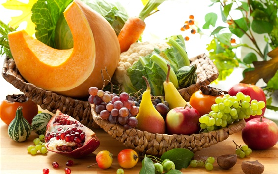 Fruits and vegetables, garnets, pears, apples, grapes, carrots, pumpkin, cabbage Wallpaper Preview