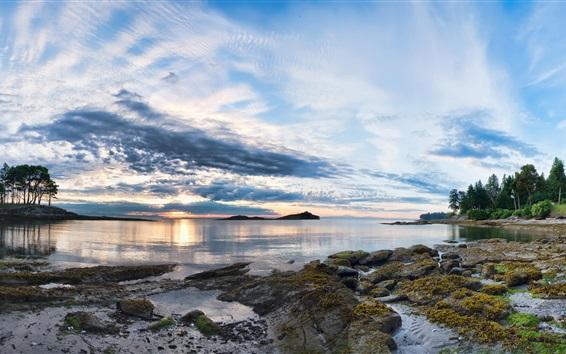 Wallpaper Galiano Island, sunset, clouds, trees, sea, coast, British
