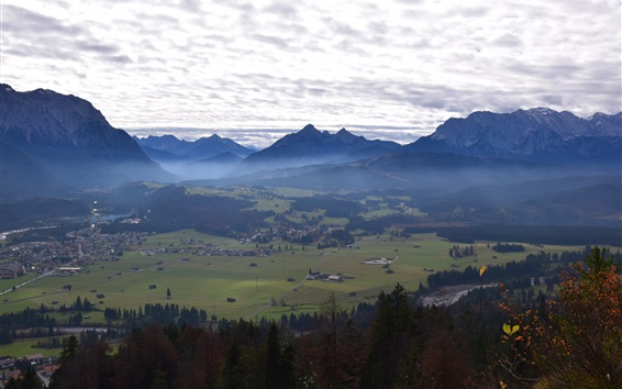 Wallpaper Germany, Bavaria, Zugspitze, mountains, trees, town, clouds, morning