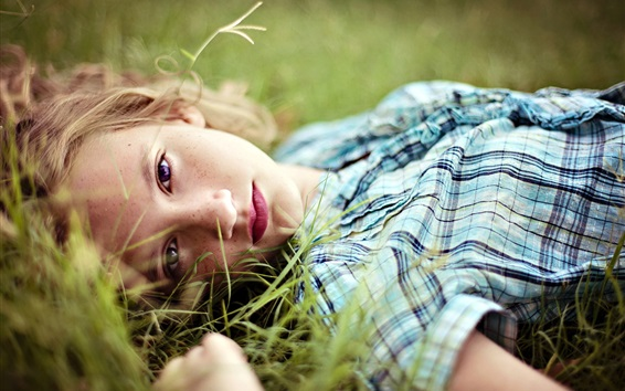 Wallpaper Girl lying on grass, blonde, face