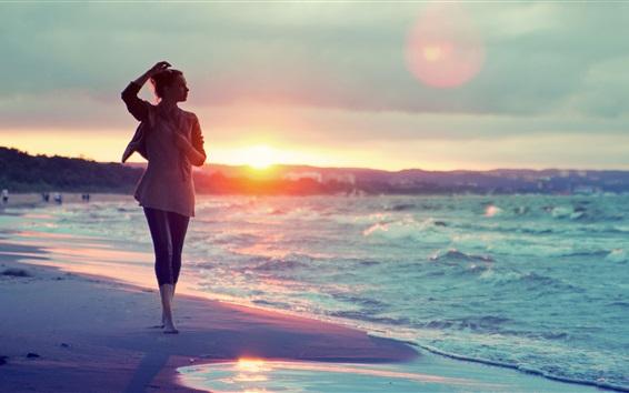 Papéis de Parede Menina, andar, praia, mar, pôr do sol