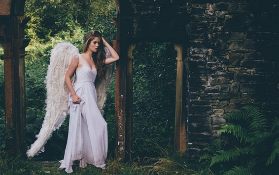 Wallpaper Grace Bowker, Angel girl, white dress