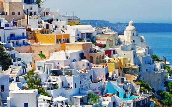 Wallpaper Greece, houses, city, coast, sea, sunlight