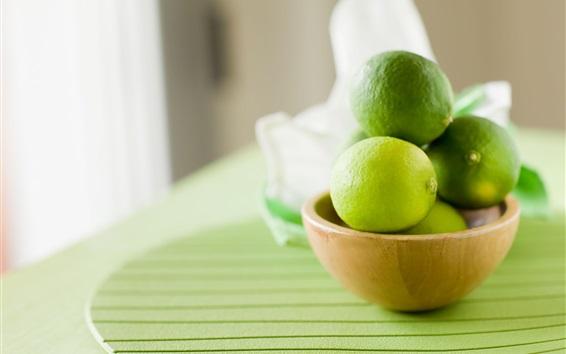 Wallpaper Green lemon, lime, bowl