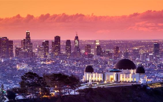 Fond d'écran Griffith Park, Los Angeles, Etats-Unis, ville nuit, gratte-ciel, lumières