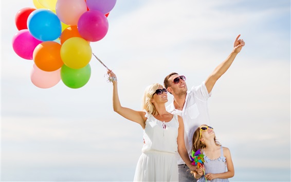 Wallpaper Happiness Family Colorful Balloons 3840x2160 Uhd