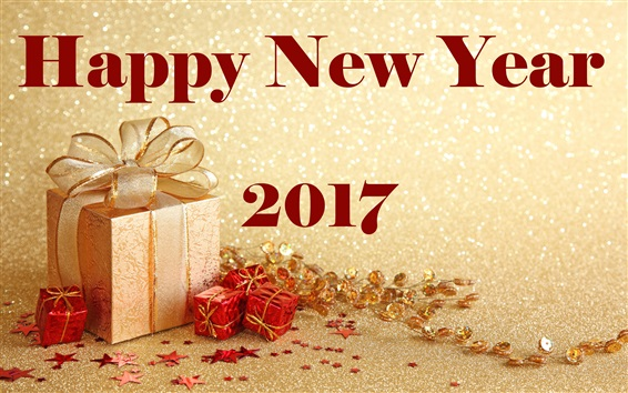 Wallpaper Happy New Year 2017, gifts, golden style