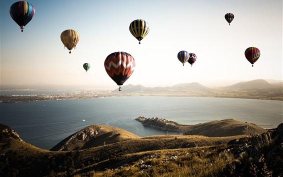 Wallpaper Hot air balloons, sky, sea